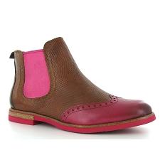 Tamaris Vanni Marron-Rose - Chaussures Boot Femme